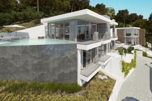 Blick auf die Villa von der Dachterrasse