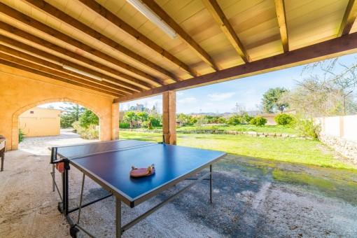 Tischtennis-Bereich mit Blick in den Garten
