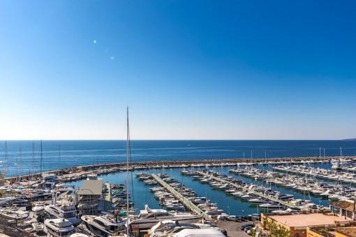 Exklusiver Blick auf den Yachthafen