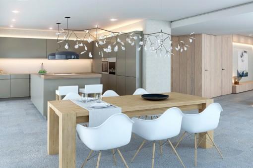 Moderne Küche mit anschließendem Essensbereich