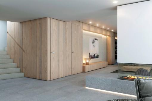Reizender Wohnbereich mit offenem Kamin