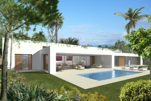 Geräumige, moderne Luxusvilla auf einer Ebene in Sol de Mallorca