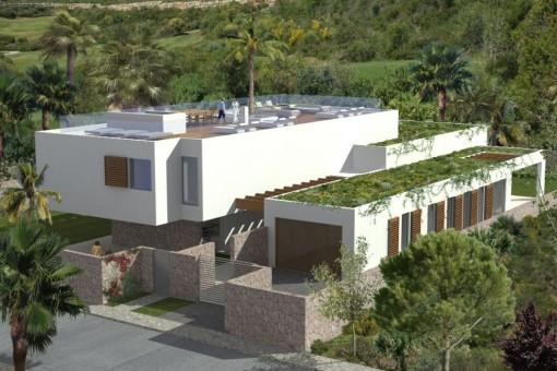 Blick auf die Fassade der Villa