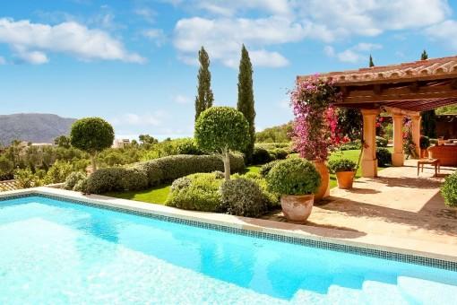 Blick vom Swimmingpool auf den Garten