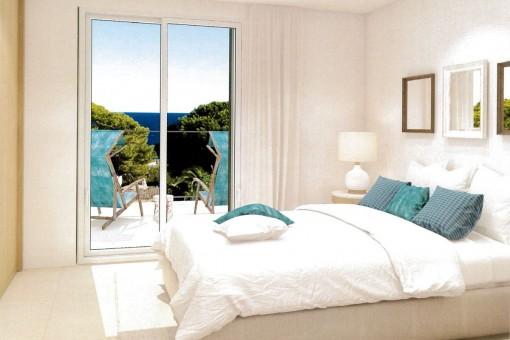 Gemütliches Hauptschlafzimmer mit Zugang auf den Balkon