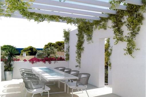 Einlandender Essbereich auf der Terrasse