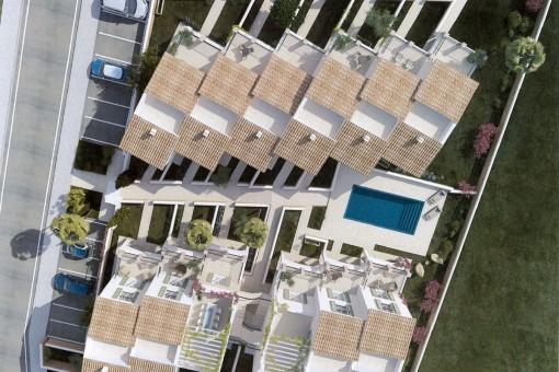 Der Wohnkomplex und Poolbereich