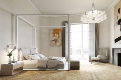 Schlafzimmer mit Kamin