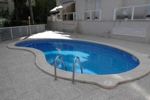 Gepflegte Gemeinschaftsterrasse mit Swimmingpool