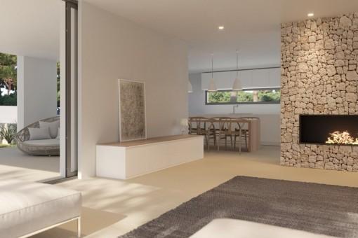 Exklusiver Wohnbereich mit Kamin