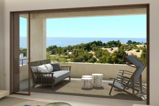 Großartige Meerblick-Wohnung im 1. Stock, zum Erstbezug mit Gemeinschaftspool & 2 Parkplätzen in La Bonanova