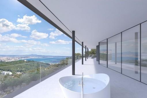 Exklusive, beeindruckende Luxusvilla mit Blick auf das Meer und die Bucht von Palma in Génova