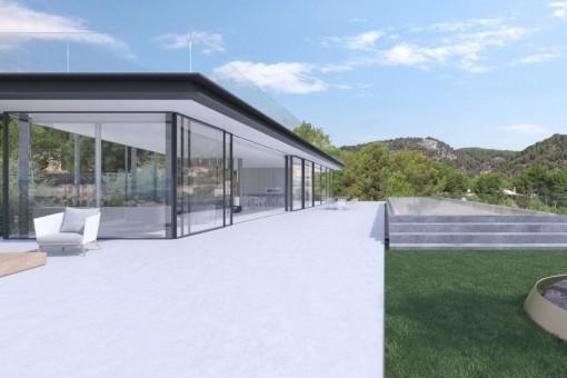 Dachterrasse der Villa