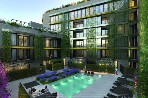 Extravagante Neubauwohnung mit Terrasse und Garten im Zentrum von Palma