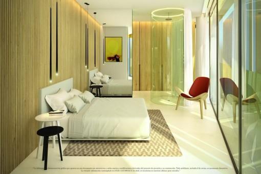 Stylisches Schlafzimmer mit Dusche