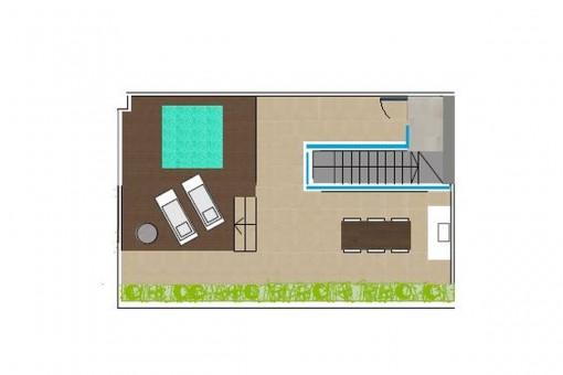 Grundriss der Dachterrasse