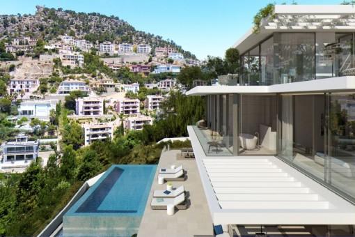Ansicht des Pools und der Terrassen