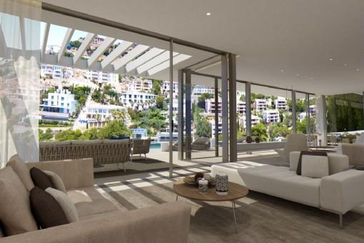 Wohnbereich mit großen Panoramafenstern