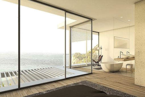 Luxuriöses Badezimmer mit fantastischen Meerblick