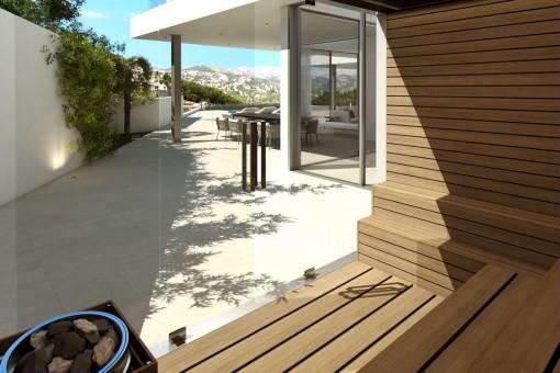 Sauna mit Blick auf die Terrasse