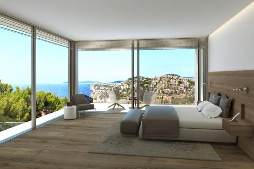 Gemütliches Schlafzimmer mit schönem Meerblick und Terrassenzugang