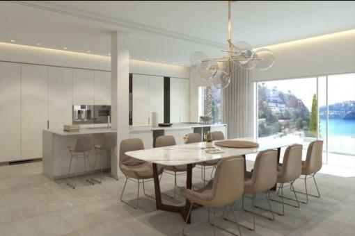 Essbereich mit voll ausgestatteter Designer-Küche