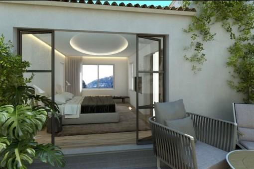 Luxuriöses Hauptschlafzimmer mit Ankleideraum und Terrasse