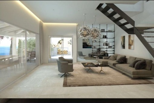 Großer Wohnbereich mit komfortabler Lounge