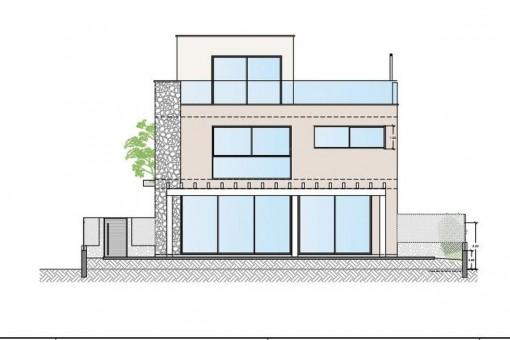 Minimalistisches Neubauchalet mit Meerblick in Puig de Ros