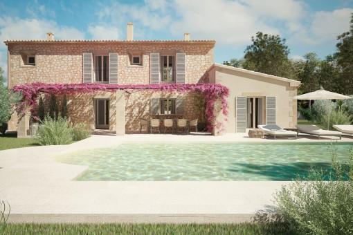 Exzellentes Finca-Neubauprojekt mit Pool in ruhiger Landschaft zwischen Montuiri und Porreres