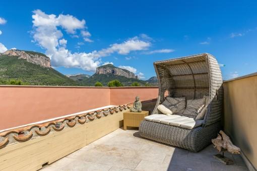 Entspannungsbereich auf der Dachterrasse