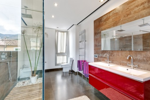 Badezimmer mit Dusche, Doppelwaschbecken und Tageslicht
