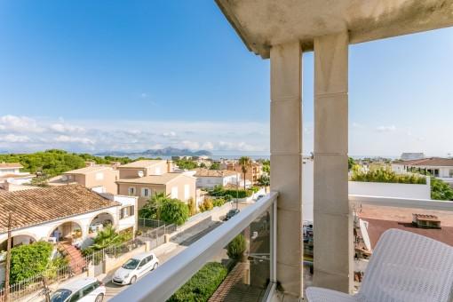 Duplexapartment in bester Wohnlage von Can Picafort mit weitläufigem Blick bis hin zum Meer