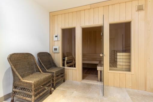 Eine Sauna bietet Wohlfühlatmosphäre