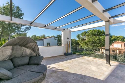 Lounge Bereich auf dem Balkon