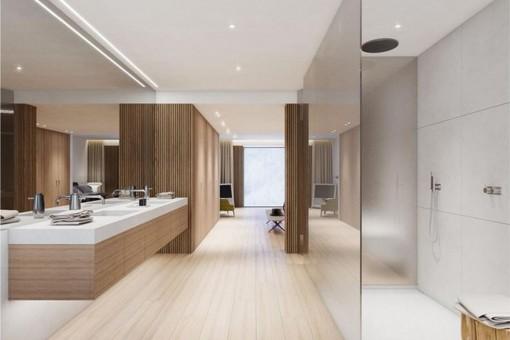 Badezimmer en Suite mit großer, ebenerdiger Dusche und Doppelwaschbecken