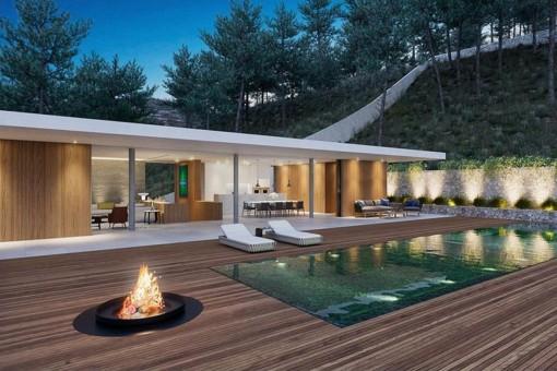 Fantastischer Außenbereich mit Feuerstelle, Pool und gemütlichem Loungebereich