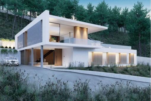 Frontansicht der eleganten Villa