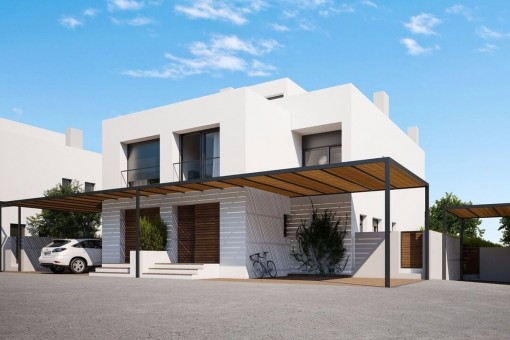 Minimalistisches Doppelhaus in zweiter Meereslinie in Puig de Ros