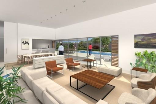 gro e moderne neubau villa in sol de mallorca kaufen. Black Bedroom Furniture Sets. Home Design Ideas