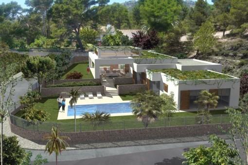 Die Villa zeichnet sich durch ihre klare Linien aus