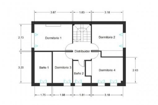 Grundriss des ersten Stockwerks