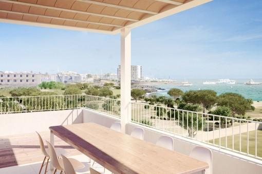 Teilweise überdachte Terrasse mit wundervollem Meerblick