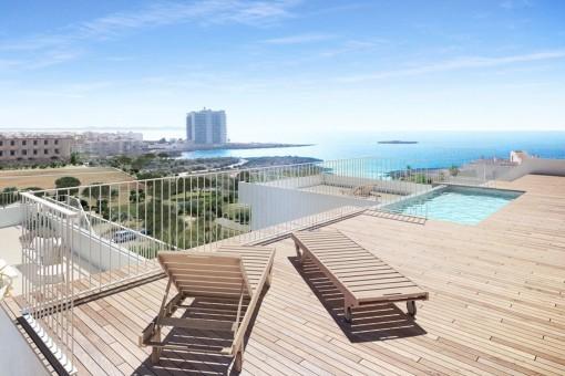 Moderne Designer-Villa direkt am Meer unterteilt in 4 Luxuswohneinheiten Colonia St. Jordi