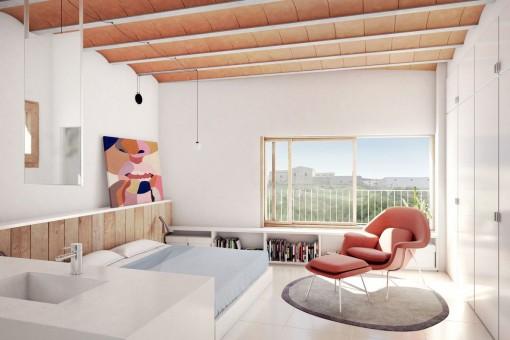 Modernes Doppelschlafzimmer mit integriertem Badezimmer