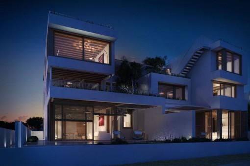 Die tolle Villa in der Nacht