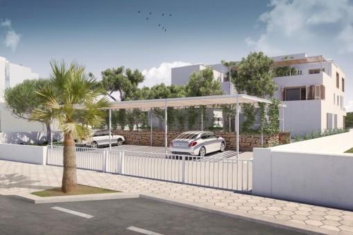 Die Villa bietet einen Carport