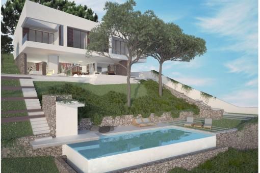 Modernes Villenprojekt mit grandiosem Meerblick in Portals Nous