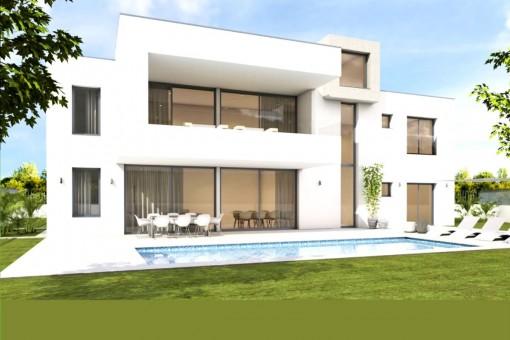 Minimalistische Neubauvilla in erster Meereslinie in der Nähe von Palma