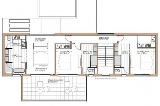Grundriss der ersten Etage